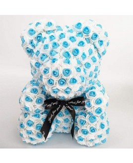 Newstyle Blue Rose Teddy Bear Flower Bear Best Gift for Mother's Day, Valentine's Day, Anniversary, Weddings and Birthday