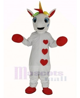 White Unicorn with Colorful Horn Mascot Costume