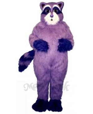Purple Raccoon Mascot Costume