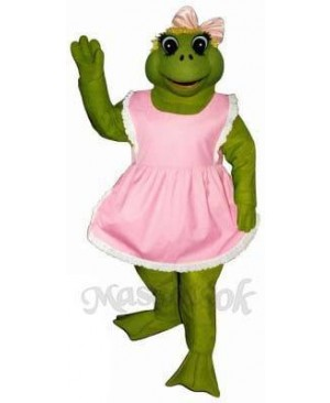 Female Fern Frog with Apron & Bow Mascot Costume