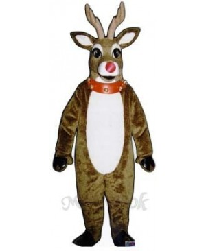 Mistletoe Deer with Lite-up Nose, Collar & Cuffs Christmas Mascot Costume