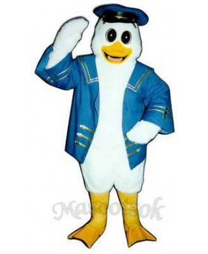 Cute Captain Duckling Duck with Jacket & Hat Mascot Costume