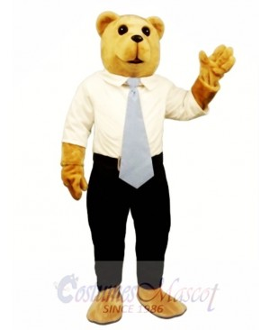 New White Collar Bruce Bear Mascot Costume