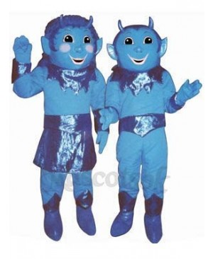 Boy Blue Devil (on right) Mascot Costume