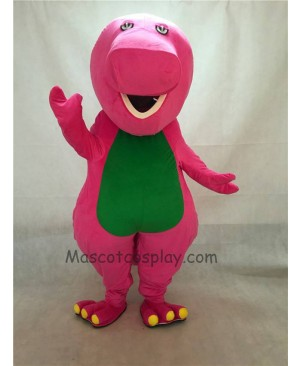 Cute Green Belly Peach Barney Mascot Adult Costume