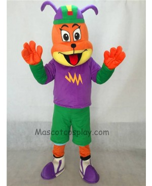 Cute Dog in Purple Shirt and Hat Adult Mascot Costume
