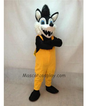 High Quality Big Bad Wolf Mascot Costume with Yellow Overalls