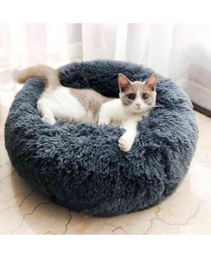 Long Plush Super Soft Pet Round Bed Improved Sleep for Cats Small Medium Dogs