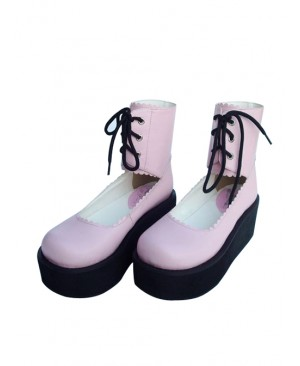 "Pink 2.6"" Heel High Adorable PU Round Toe Cross Straps Platform Girls Lolita Shoes"