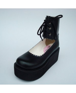 "Black 2.6"" Heel High Cute PU Round Toe Cross Straps Platform Girls Lolita Shoes"