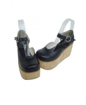 "Black 3.7"" Heel High Adorable PU Round Toe Cross Straps Platform Girls Lolita Shoes"