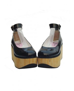 """Black 3.1"""" Heel High Sexy Synthetic Leather Point Toe Ankle Straps Platform Girls Lolita Shoes"""