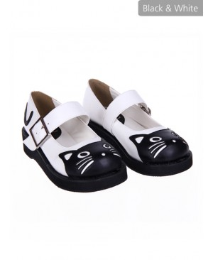 """Black 1.2"""" Heel High Gorgeous Patent Leather Point Toe Ankle Straps Platform Girls Lolita Shoes"""