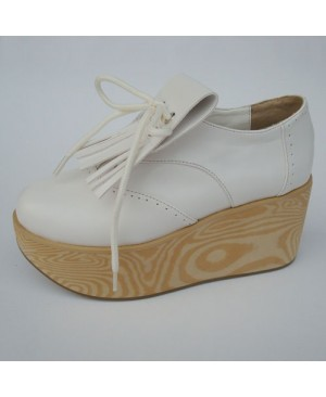 """White 3.1"""" Heel High Classic Patent Leather Point Toe Ankle Straps Platform Girls Lolita Shoes"""