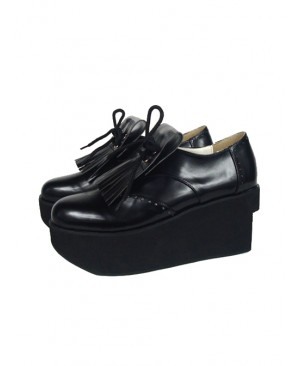 """Black 3.1"""" Heel High Sexy Patent Leather Point Toe Ankle Straps Platform Girls Lolita Shoes"""
