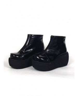 """Black 3.1"""" Heel High Special Patent Leather Round Toe Ankle Straps Platform Lady Lolita Shoes"""