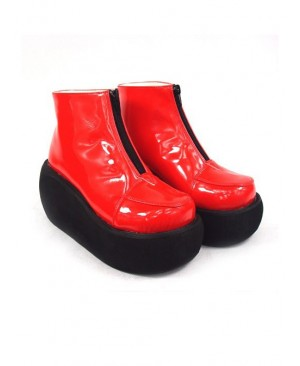 """Red 3.1"""" Heel High Sexy Suede Round Toe Ankle Straps Platform Lady Lolita Shoes"""