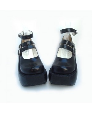 """Black 3.9"""" Heel High Classic Synthetic Leather Round Toe Ankle Straps Platform Lady Lolita Shoes"""