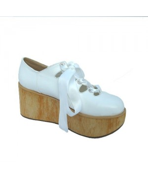 """White 3.1"""" Heel High Lovely Patent Leather Round Toe Ankle Straps Platform Lady Lolita Shoes"""