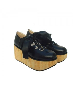 "Black 3.1"" Heel High Lovely Patent Leather Round Toe Ankle Straps Platform Lady Lolita Shoes"