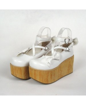 """White 3.9"""" Heel High Lovely Suede Round Toe Cross Straps Platform Lady Lolita Shoes"""