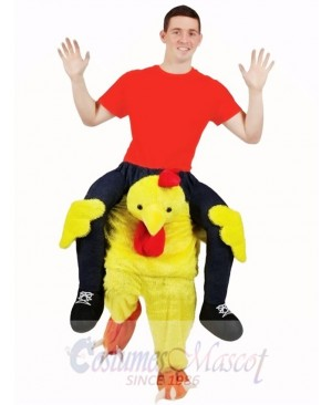 Carry Me Yellow Chicken Chick Piggy Back Mascot Costume Ride On Me Funny Fancy Dress