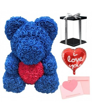 Blue Rose Teddy Bear Flower Bear with Red Heart with Balloon, Greeting Card & Gift Box for Mothers Day, Valentines Day, Anniversary, Weddings & Birthday