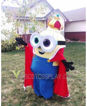 Despicable Me Minions King Bob  Mascot Costume with Cape Fancy Dress Outfit
