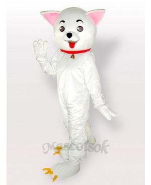 Pink Ears Kitty Cat White Adult Mascot Costume