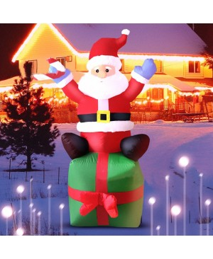 6ft Christmas Inflatable Santa Claus Sitting On Gift Box Outdoor Indoor Holiday Decoration Yard Lawn Home Outside Art Decor
