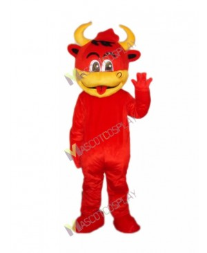 Cartoon Red Bull Mascot Costume Basketball Team Mascot
