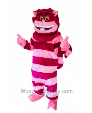 Alice In Wonderland Cheshire Cat Mascot Red and Pink Stripe Cat Mascot