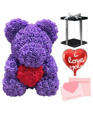 Purple Rose Teddy Bear Flower Bear with Red Heart with Balloon, Greeting Card & Gift Box for Mothers Day, Valentines Day, Anniversary, Weddings & Birthday