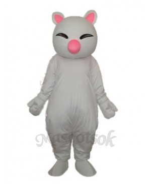 Big Pink Nose White Cat Mascot Adult Costume