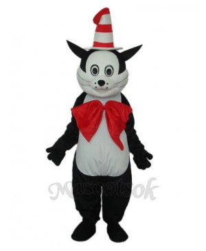Black Cat with Hat Mascot Adult Costume