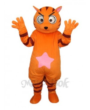 Orange Star Cat Mascot Adult Costume