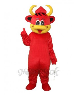 Yellow Mouth Red Cow Mascot Adult Costume Animal