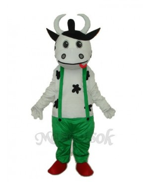 Cow in Green Overall Mascot Adult Costume