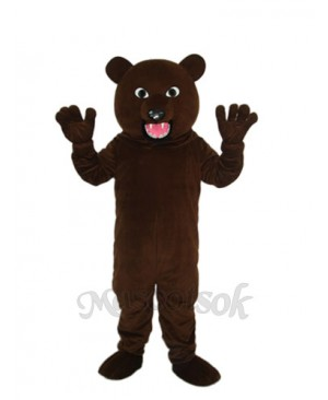 Black Brown Bear with Sharp Tooth Mascot Adult Costume