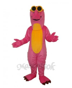 Pink Dinosaur with Glasses Mascot Adult Costume