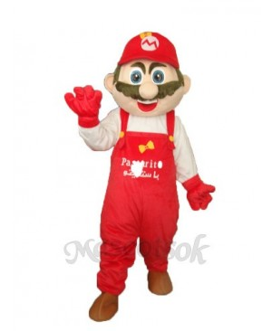 Mario with White Clothes Mascot Adult Costume