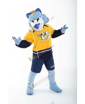 Nashville Predators Ice Hockey Team Mascot Costume Gnash Blue Saber-toothed Cat Mascot Costume