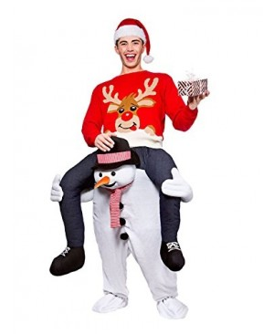 Piggy Back Carry Me Snowman Mascot Costume Ride On Fancy Dress