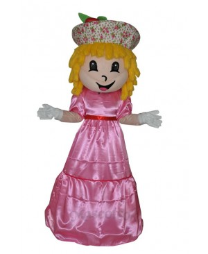 Farm strawberry girl adult mascot costume