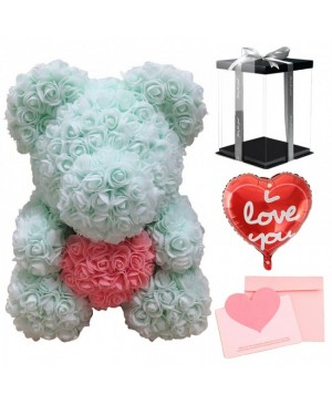 Light Green Rose Teddy Bear Flower Bear with Pink Heart with Balloon, Greeting Card & Gift Box for Mothers Day, Valentines Day, Anniversary, Weddings & Birthday