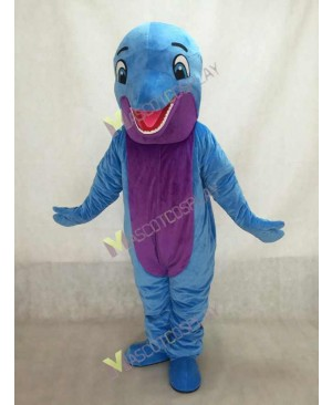 New Blue Happy Dolphin Mascot Costume with Purple Belly