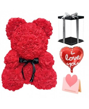 Red Rose Teddy Bear Flower Bear Gift for Mothers Day, Valentines Day, Anniversary, Weddings & Birthday with Balloon, Greeting Card & Clear Gift Box Included 10 Inches