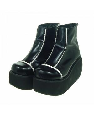 "Black & White 3.1"" Heel High Stylish Patent Leather Round Toe Scalloped Platform Girls Lolita Shoes"