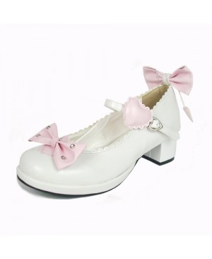 "White & Pink 1.8"" Heel High Cute Suede Point Toe Bowknot Platform Girls Lolita Shoes"