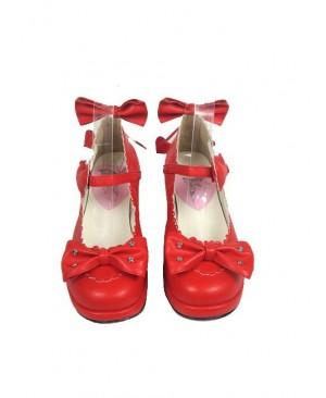 "Red 1.8"" Heel High Cute PU Point Toe Bowknot Platform Girls Lolita Shoes"